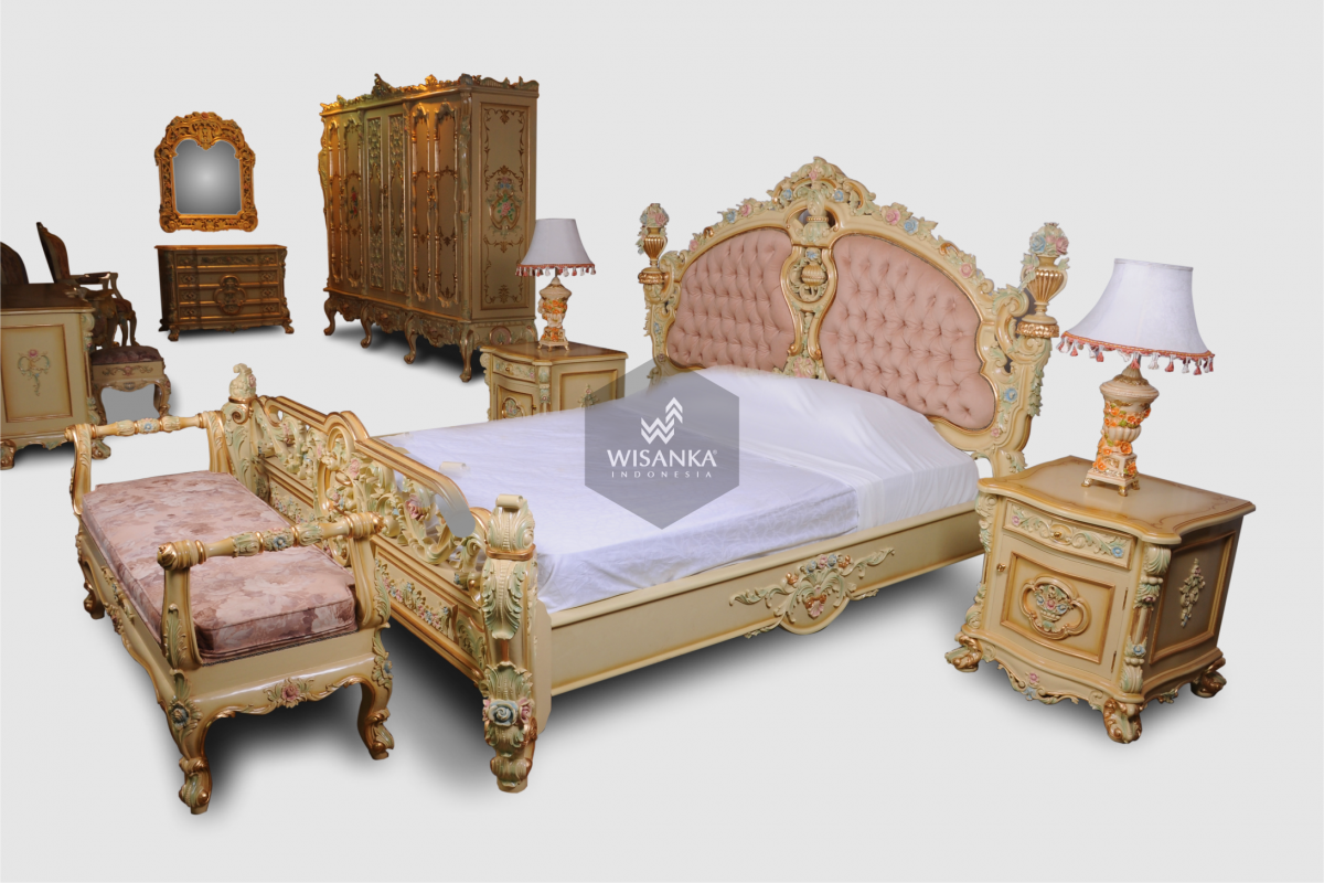URANIA MASTER BEDROOM CREAM JEPARA, INDONESIA CLASSIC BADROOM SET